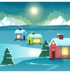 Winter night mountains and houses vector image vector image