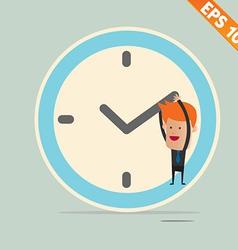 Cartoon businessman hanging on the clock - - vector