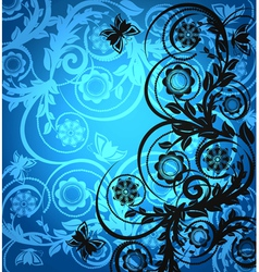 floral ornament with butterfly vector image vector image