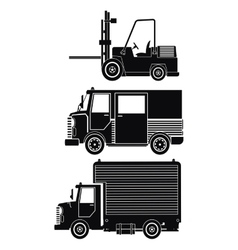 Silhouette collection truck forklift cargo vector