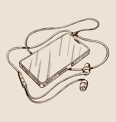 sketch smart phone with headphones and vector image