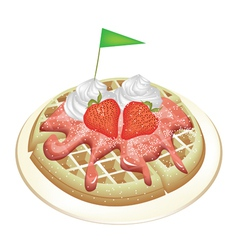 Waffle with Strawberries and Whipped Cream vector image