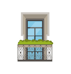 classical balcony with wrought iron railing and vector image vector image
