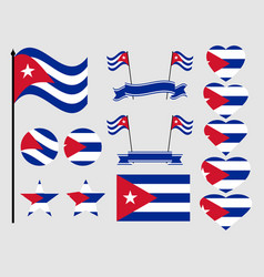 cuba flag set collection of symbols flag vector image