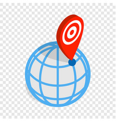 globe and map pointer isometric icon vector image