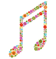 musical note with flowers vector image vector image