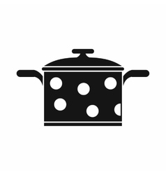 Saucepan with white dots icon simple style vector image