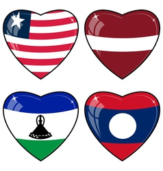 Set of images of hearts with the flags of Laos vector image