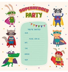 Superhero Card invitation with group of cute vector image vector image