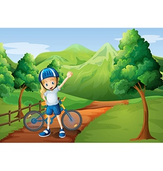 A cute little girl and her bike at the pathway vector image vector image