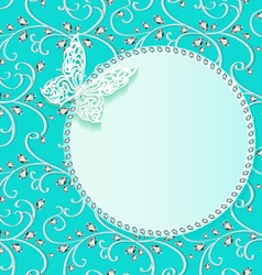 Background card with flower lace and delicate butt vector
