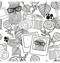 Black and white seamless pattern with vintage vector image vector image