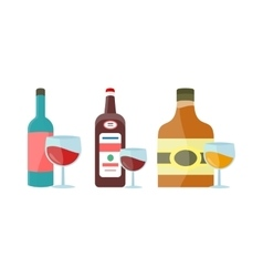 Bottles with Alcohol in Flat Style Design vector image