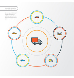 car colorful outline icons set collection of van vector image vector image