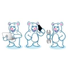 Polar Bear Mascot with laptop vector image vector image
