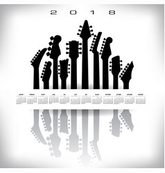 2018 calendar with a whitespace musical banner vector image
