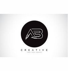 Ab modern leter logo design with black and white vector