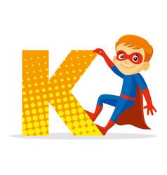 Abc letter k superhero boy cartoon character vector