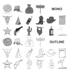 attributes of the wild west monochrom icons in set vector image
