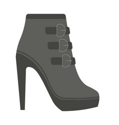 autumn female leather half-boot with straps on vector image vector image