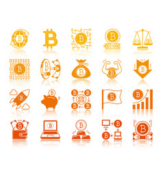 Bitcoin finance gold glyph icons set vector