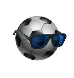 black and white soccer ball wearing sunglasses vector image