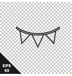 Black line carnival garland with flags icon vector