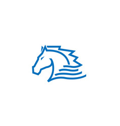 blue horse logo vector image
