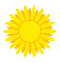 bright yellow sun with rays element for design vector image