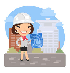 cartoon architect with blueprint vector image