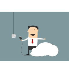 Cartoon businessman connecting personal cloud vector image