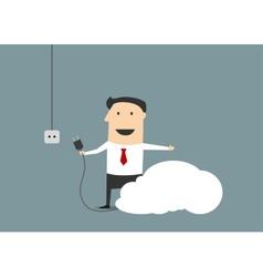 Cartoon businessman connecting personal cloud vector