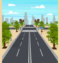 cartoon city crossroad traffic lights card poster vector image