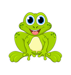 cartoon frog cute character isolated on white vector image