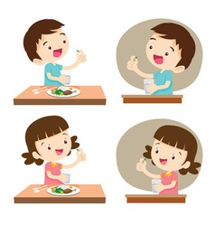 Children taking medicine vector