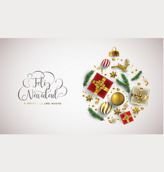 christmas new year spanish card gold xmas ornament vector image