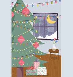 christmas tree to home vase with flowers and vector image