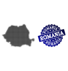 Collage of halftone dotted map of romania and vector