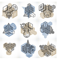 Collection of abstract different dimensional vector