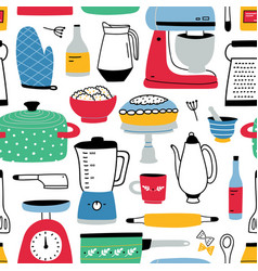 Colorful seamless pattern with kitchen utensils vector