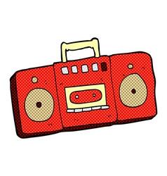 Comic cartoon radio cassette player vector