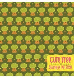 Cute cartoon tree oak seamless pattern vector image