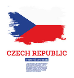czech republic flag with brush strokes vector image