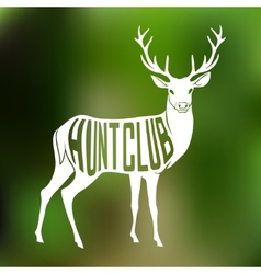 Deer Silhouette with text inside on blur vector