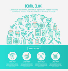dental clinic concept with thin line icons vector image