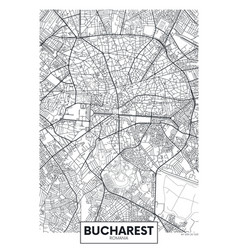 Detailed poster city map bucharest vector