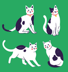 doodle funny cute hand drawn cat and kitten vector image