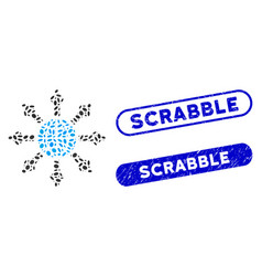 Dot mosaic planetary society with grunge scrabble vector