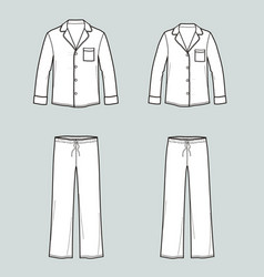 Family pajamas suit shirt with pocket and pants vector
