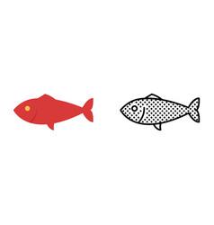 fish icon set seafood symbol vector image
